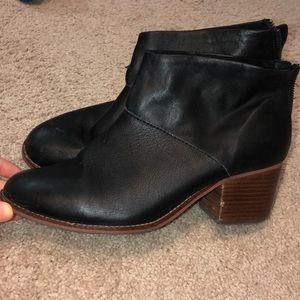 TOMS Black Leather Tassel Booties